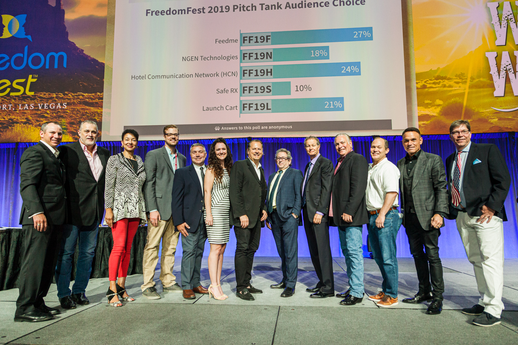 Feedme's winning development team with Pitch Tank judges and finalists in front of the leaderboard. (Photo by Jonathan Williams/NationalPhotography.us)